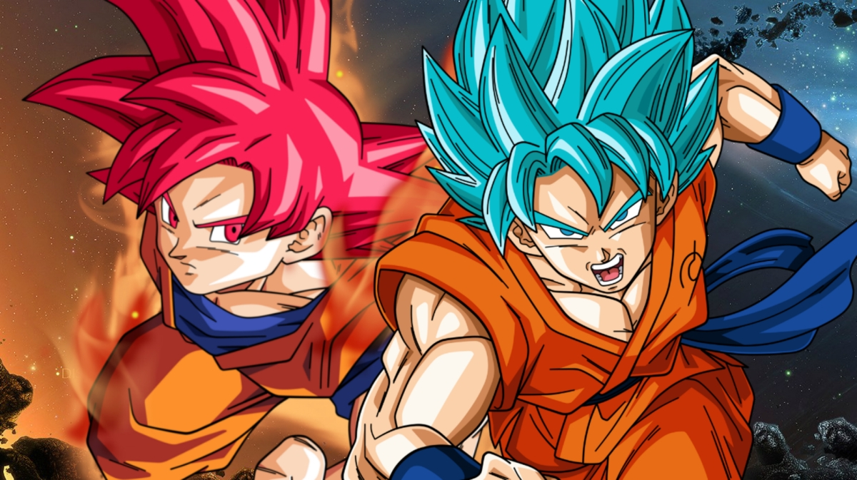 Super saiyan god red vs super saiyan god blue in dragon - Foto goku super saiyan god ...